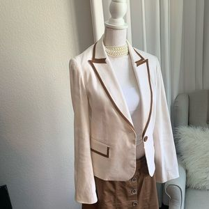 Le Chateau cream Blazer with leather detail.